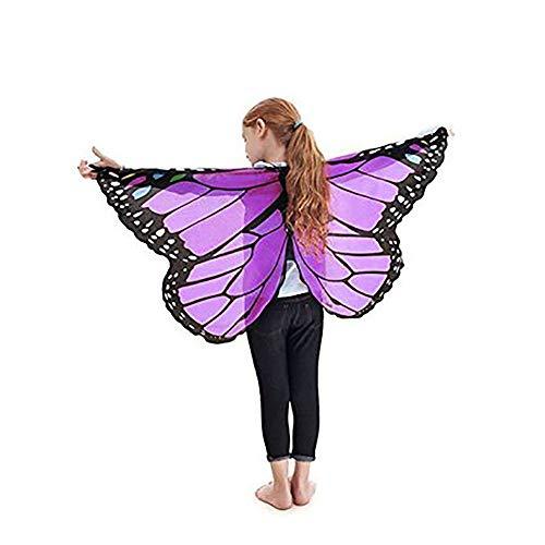 Finsink Kinder Schmetterlingsflügel Schal mit weichem, leichtem Material als Kostümzubehör für Show, Daily, Party (lila)