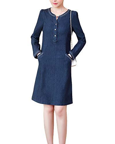 KasenA Damen Jeanskleid Hemdblusenkleid Longshirt Tunika S