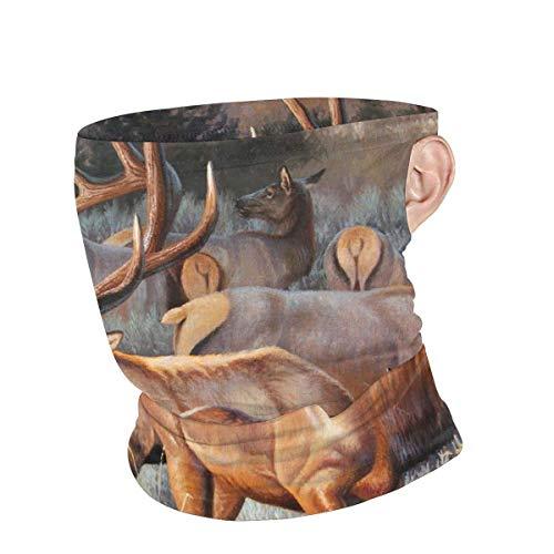 Lawenp Scaldacollo Unisex Cervo Renna Alce Riutilizzabile Viso collo Bandane traspiranti estive