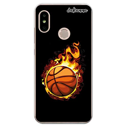 dakanna Funda para Xiaomi Mi A2 Lite - Redmi 6 Pro | Balón de Baloncesto en Llamas | Carcasa de Gel Silicona Flexible Transparente