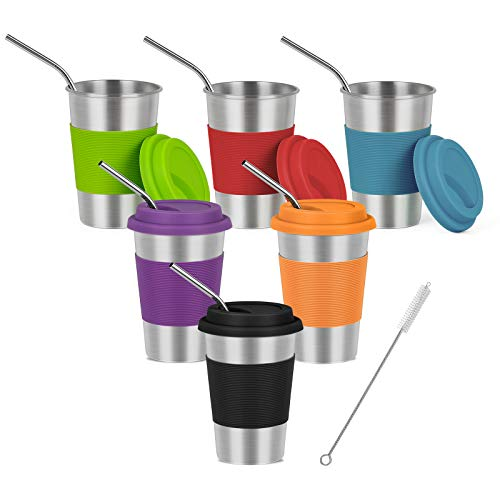 MOOACE Kids Stainless Steel Cups with Straw and Lid, 6 Pack 16 oz Tumbler for Children