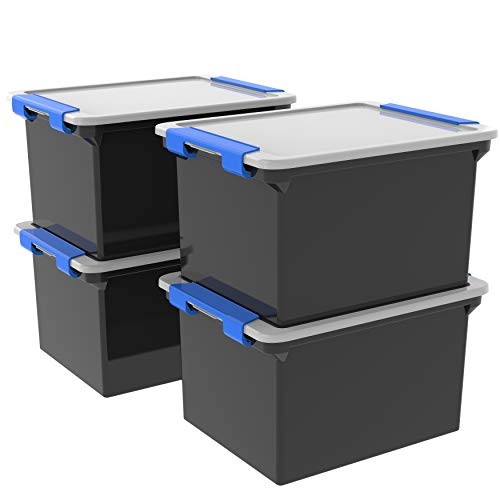 Storex Storage File Tote with Locking Handles BlackSilver 4-Pack 61543U04C