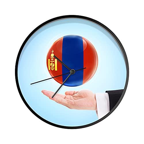 Uhr - Ø 30 cm - Schwarz - Die Flagge der Mongolei schwebt über Einer Hand - Wanduhr