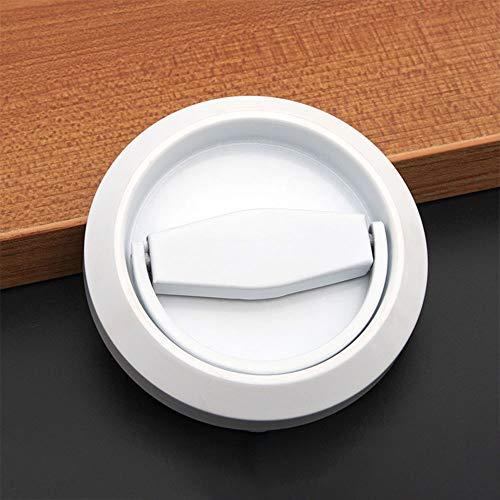 1 maniglia da incasso per porta scorrevole, maniglia invisibile, per porta, armadietti, porte, cassetti, pomelli in acciaio inox, con anello a tazza (bianco)