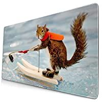 LOTIN-J マウスパッドりす サーフィン デスクマット 大型おしゃれ 滑り止め ゲーム用 40*75cm