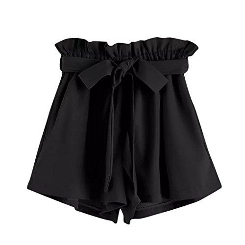 ZARU Damen Casual Shorts, Sommer Einfarbig Kurze Hose Elastische Taillen Taschen Kurzschluss-Hosen mit Tunnelzug, Retro-Sti Weite Bein Shorts (M, Schwarz)