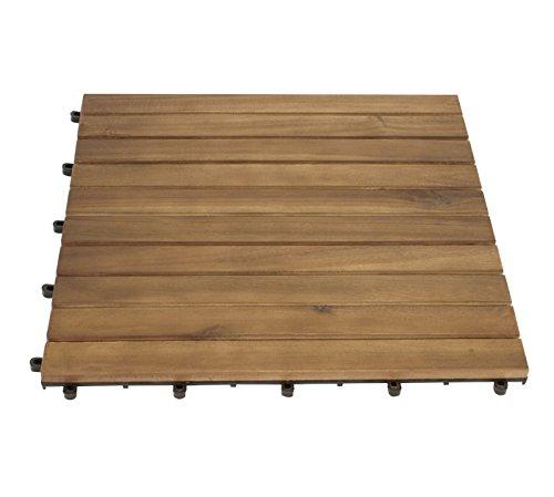 DEGAMO XL Holzfliesen 50x50cm aus Akazien Holz, 5er Set, FSC®-Zertifiziert