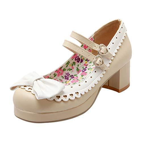 Mary Jane Pumps mit Blockabsatz und Riemchen 5cm Absatz Absatz Rockabilly Schuhe(Beige,34)