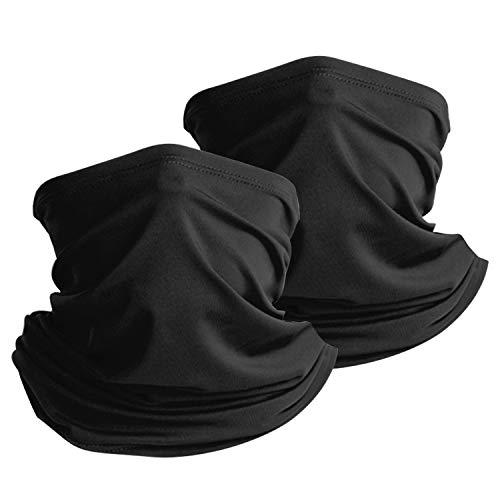 Thimmamma Halsmanschette Schal, 2PCS Schwarz Schal Als Mundschutz Multifunktionale Schal Dünn Atmungsaktiv Elastisch Schal für Halsmanschette Herren
