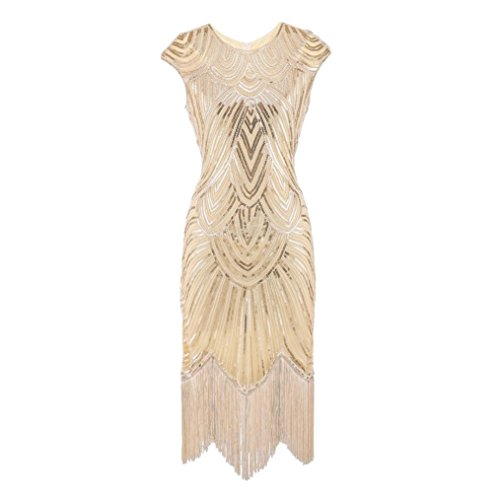 Amphia Damen Flapper Kleider voller Pailletten Retro 1920er Jahre Stil V-Ausschnitt Great Gatsby Motto Party Damen (Beige, S)