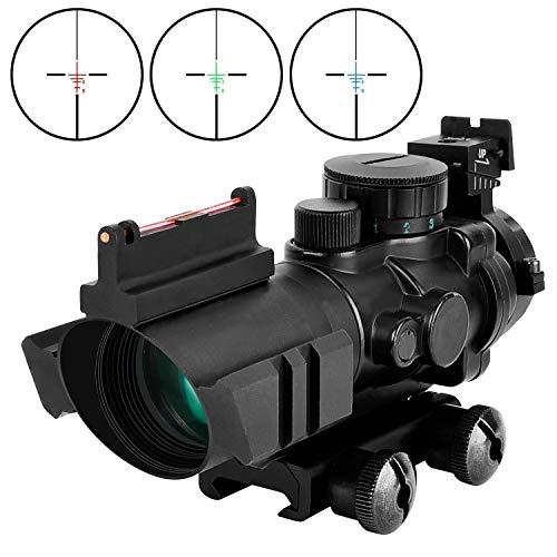 Viiko Zielfernrohr 4x32 mit Fiberoptic Jagd Softair und Armbrust Gewehr Zielfernrohre Airsoft Red Dot Visier mit Montage Mil-Dot Scope Fadenkreuz Optische Sichtung Leuchtpunktvisier Rotpunktvisier