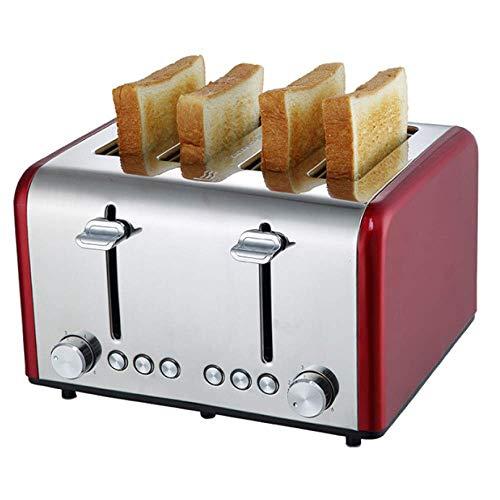 YFGQBCP Tostadora Tostadora, tostadora doméstica de Acero Inoxidable automática multifunción for el hogar, máquina de Desayuno (Color : Red)