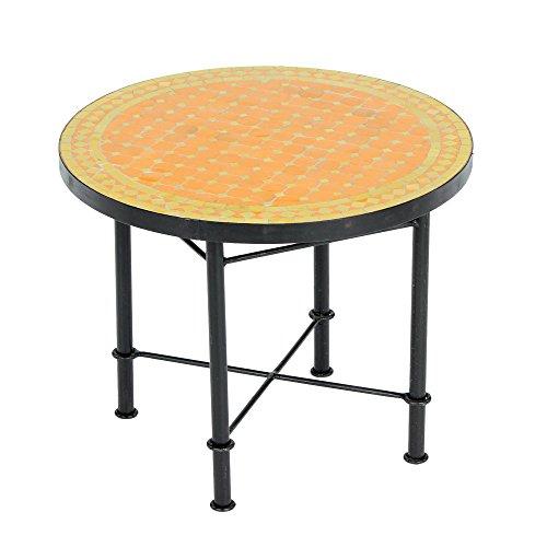 Albena Marokko Galerie Marokkaanse mozaïektafel 60 cm salontafel tuintafel bijzettafel terrastafel ø 60cm Metak: oranje/geel