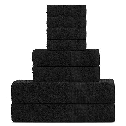 Juego de Toallas de Lujo de algodón Sweet Needle, Negro - 2 Toallas de baño, 2 Toallas de Mano y 4...