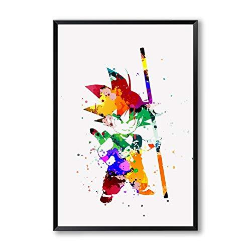 YIYEBAOFU DIY Malen nach Zahlen Son Goku Niedlich eine Leinwand Malerei Kunstdruck Poster Bild Home Decoration Junge Schlafzimmer Wanddekor Wandbilder40x50cm(Kein Rahmen)