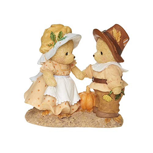 Roman Cherished Teddies, John and Priscilla Thanksgiving Couple Figure, 3.75' H, Resin and Wollastonite, Durable, Collectible Decoration, Figurine