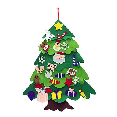 OYEFLY DIY Filz Weihnachtsbaum,37.4 * 27.55inch Hoch Filz Weihnachtsbaum Set Edition 28 Pcs Ornamente Wand Dekor Für Kinder Weihnachten Geschenk?Weihnachtsspiel? Home Tür Wand Dekoration (Stil 3)