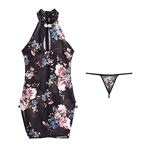 Vrouw Sexy Lingerie Uniform Print Cheongsam Retro Slim Rok ZHQHYQHHX (Color : Blue)
