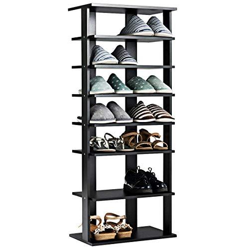 Tangkula Wooden Shoes Racks, Entryway Shoes Storage Stand, Modern 7 Tiers Shoe Rack Organizer, Space Saving Vertical Shoe Rack, Storage Shelf (Black, Double)