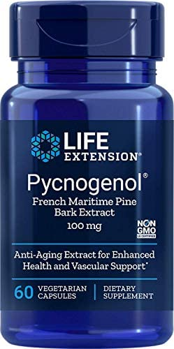 Life Extension Pycnogenol French Maritime Pine Bark Extract 100 Mg 60 Vegetarian Capsules