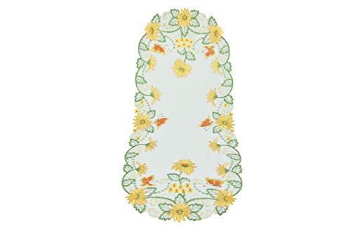 Bellanda 80276–40 x 100 cm Motif Fleurs carré Chemin de Table Polyester Blanc 40 x 100 cm