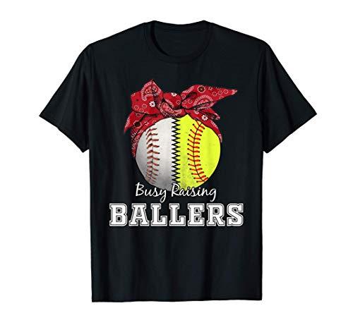 Busy Raising Ballers Softball Baseball Tee baseball mom Gift T-Shirt