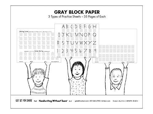 Handwriting Without Tears Learning Without Tears Gray Black Paper Trans K–Grade 1, Print Capitals and Numbers Practice Paper, Letter Formation, Beginning Handwriting- for School or Home Use