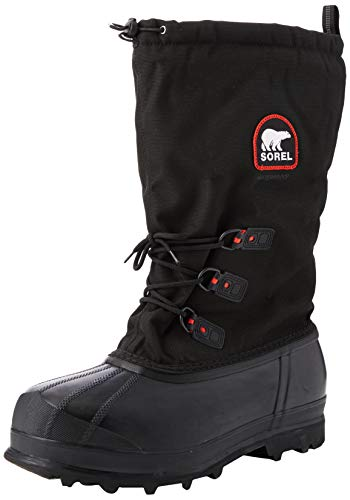 SOREL - Men's Glacier XT Insulated Winter Boot, Black, Red Quarry, 7 M US