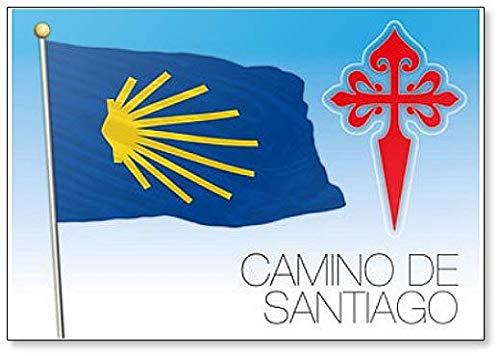 Camino de Santiago, bandera y símbolos ilustración – Imán clásico para nevera