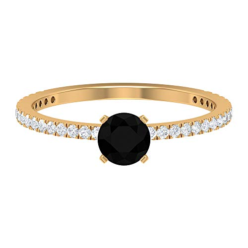 Anillo solitario de ónix negro de 5 mm, D-VSSI Moissanite Anillo de compromiso, anillo de piedra lateral, anillo de aniversario vintage, 14K Oro amarillo, Size:EU 67