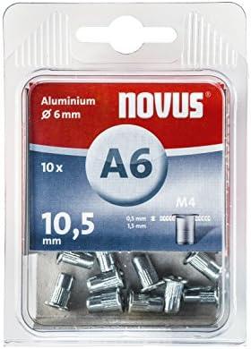 Novus 045 0075 A6 Blindnietmutter Ø6 Mm Aluminium 30 Nietmuttern M4 Gewinde 10 5 Mm Länge Für Kunststoff Und Leichtbaumaterial Silber Baumarkt