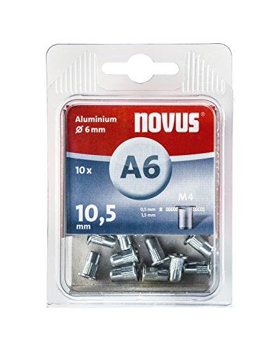 Novus Blindnietmutter Ø6 mm Aluminium, 10 Nietmuttern, M4 Gewinde, 10.5 mm Länge, für Kunststoff und Leichtbaumaterial