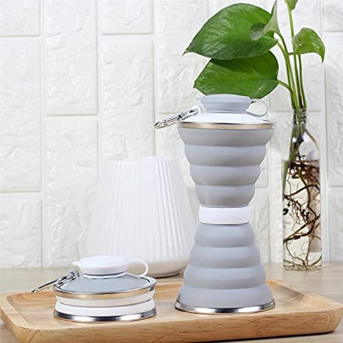 Botellas deportivas 500 ml botella de agua plegable de silicona telescópica taza beber té café taza deportes viaje hervidor de agua libre de BPA para (tamaño: tamaño libre; color: gris)
