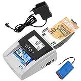 JeVx Maquina Detector y contador de Billetes Falsos Portatil 2 en 1 CON BATERIA RECARGABLE y Fuente de Alimentacion - Profesional Contadora comercial de Dinero 5 Sistemas de Deteccion Seguridad Euros