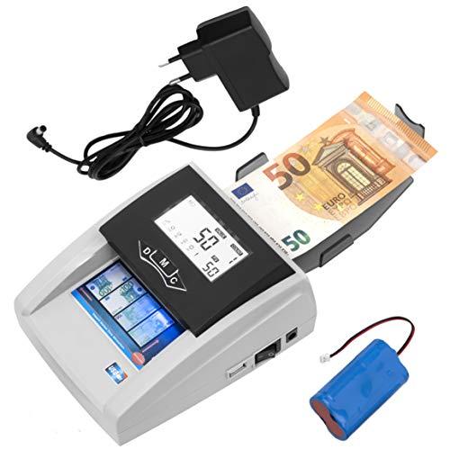JeVx Maquina Detector de Billetes Falsos Portatil 2 en 1 CON BATERIA RECARGABLE y Fuente de Alimentacion - Profesional Contadora comercial de Dinero 5 Sistemas de Deteccion Contador Seguridad Euros