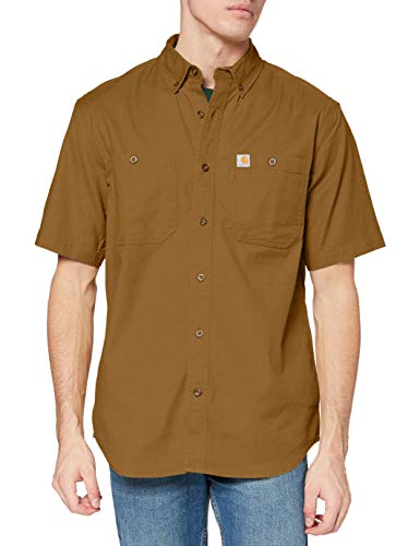 Carhartt Mens Rugged Flex Rigby Short-Sleeve Work Utility Button Down Shirt, Brown, L