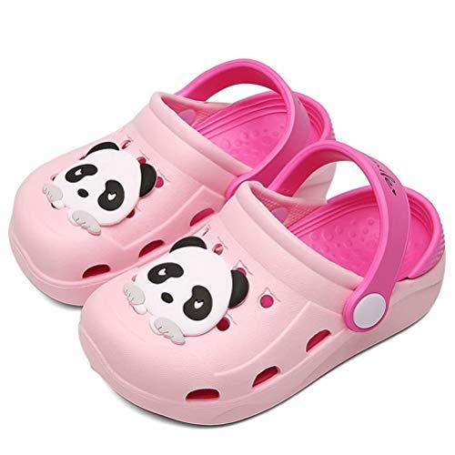 Clogs Mädchen Gartenschuhe Kinder Hausschuhe Jungen Strand Sandale mit Cartoon Panda rutschfest Slippers Rosa 23