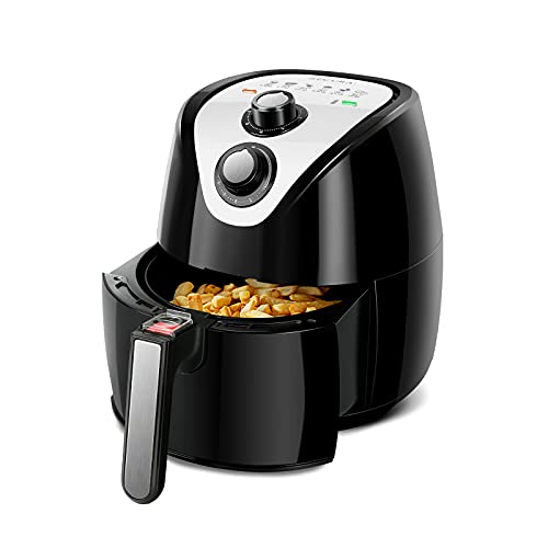 Secura 1500W Large Capacity 3.2-Liter, 3.4 QT, Electric Hot Air Fryer & Additional Accessories, Recipes, BBQ Rack & Skewers