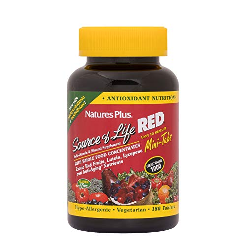 NaturesPlus Source of Life Red - 180 Mini Tablets -Easy to Swallow Red Superfood Whole Food Multivitamin, Antioxidant - Anti-Aging Nutrients - Energy Boost - Vegetarian, Gluten-Free - 30 Servings