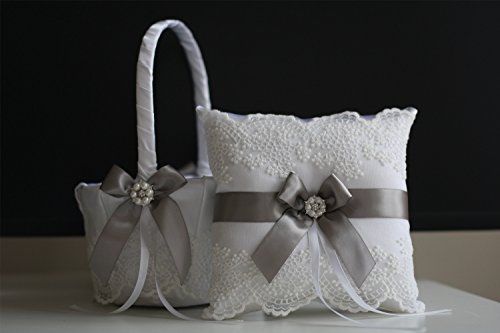 Alex Emotions White Gray Flower Girl Basket and Ring Bearer Pillow Set Lace Collection | Gray Wedding Basket | Gray Ring Pillow | Gray Ring Holder