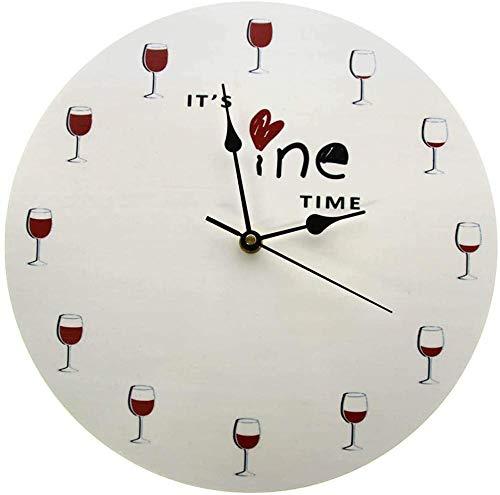 Reloj De Pared Reloj De Pared Art It S Wine Time Reloj De Pared Alcohol Copa De Vino Reloj De Vino Tinto Decorativo Reloj Reloj De Licor Restaurante Bebedor De Vino Amante Regalo Adecuado Para Tienda