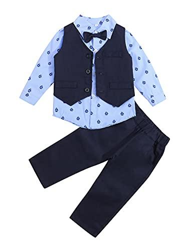 Loalirando Completo Bambino 1-7 Anni Tuta Gentleman 4 Pezzi Gilet + Camicia a Manica Lunga + Pantaloni + Cravatta Tuta Bimbo Bambino Cerimonia Nozze Elegante Suit (Blu02, 2-3 Anni)