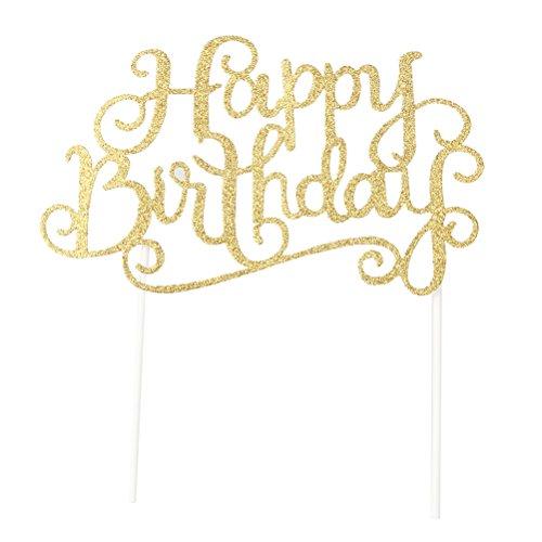 UPKOCH Confezione da 10 pezzi Gold and Sliver Happy Birthday Cake Topper, Wedding Cake Topper, Cake Topper fatto a mano, Cake Topper Glitter Party Event Decorations (Oro)