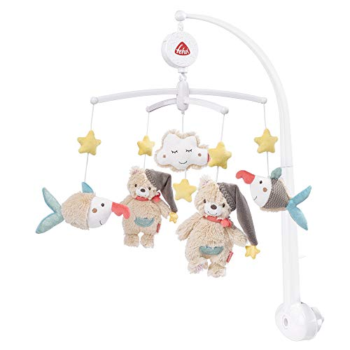 Fehn Mobile musical Australia - Boîte à musique mobile avec adorables animaux gris doux - Pour bébé de 0 à 5 mois Hauteur : 65 cm - Diamètre : 40 cm.