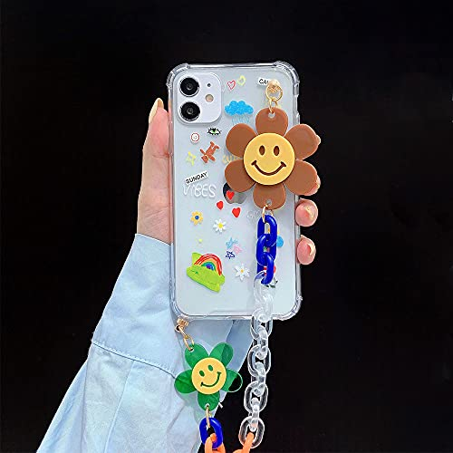 Estuche con Cadena de muñeca para iPhone 12 Pro MAX XR X 7 8 Plus Estuches Transparentes con Flores de Graffiti Lindo Estuche Colgante con Cadena para iPhon 11 SE, 1, para iPhone 12