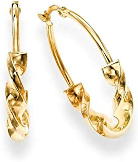 Earring in 14kt Gold Yellow Finish Shiny Round Hoop Wheat with Hinged Clasp