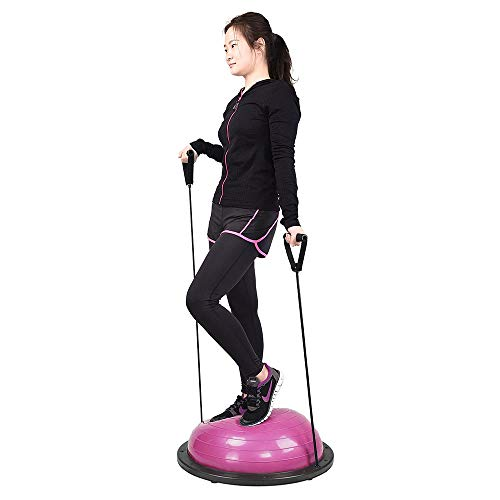 ReaseJoy-22858cm-Yoga-Balance-Trainer-Air-Dome-Ball-with-2-Elastic-Strings-Fitness-Strength-Exercise-Ball