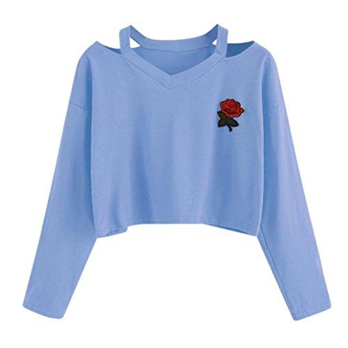 Hansee Mode Frauen Crop Tops, Langarm Sweatshirt Rose Print Cold Shoulder Bluse Gr. 36, blau