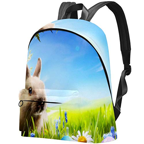 Bunny Happy Easter Bag Teens Student Bookbag Lightweight Shoulder Bags Travel Backpack Daily Backpacks