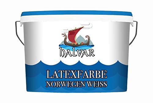 Halvar Latexfarbe weiß matt Latex Wandfarbe für Schlafzimmer, Flur, Kinderzimmer uvm. Geruchsarm Hochdeckend Abwischbar (2,5 L)